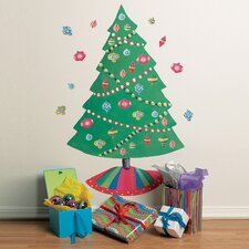 Christmas Tree Vinyl Holiday Wall Mural (Set of 2)