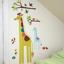 Growth Chart Wall Play Giraffe Interactive Vinyl Peel and Stick Wall Mural