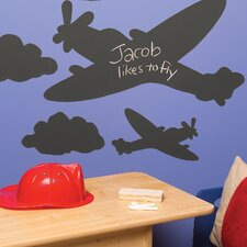 <strong>Wallies</strong> Planes and Clouds Chalkboard Mural