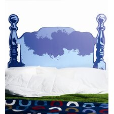 Blue Wood Headboard Wall Sticker