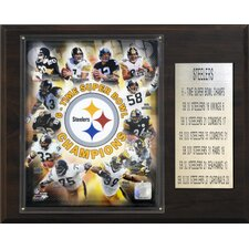 <strong>C & I Collectibles</strong> NFL Steelers 6 Time Super Bowl Champions Plaque