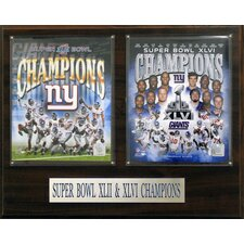 NFL New York Giants Super Bowl 42 and 46 Champions Framed Memorabilia Plaque