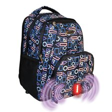Built-in Alarm Geometric School Backpack