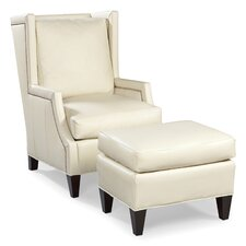 <strong>Fairfield Chair</strong> Leather High Back Wing Chair and Ottoman