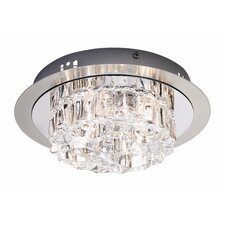 Karradal Round Crystal 1 Light Bathroom Flush Light