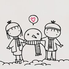 Piccolo Snowman Love Wall Decal