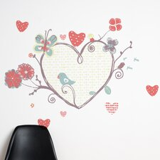 <strong>ADZif</strong> Piccolo a Perch with Heart Wall Decal