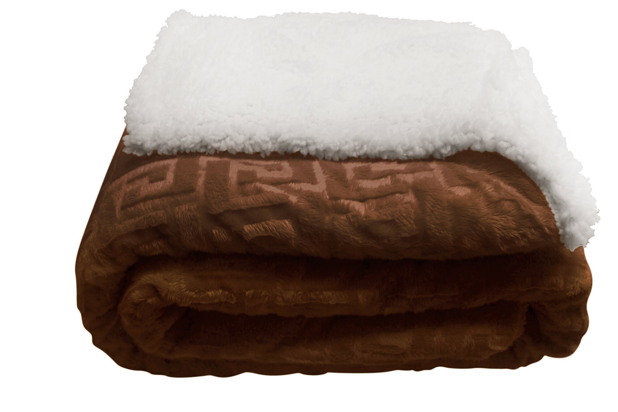 Mink Greek Key Textured Sherpa Polyester Throw Bed