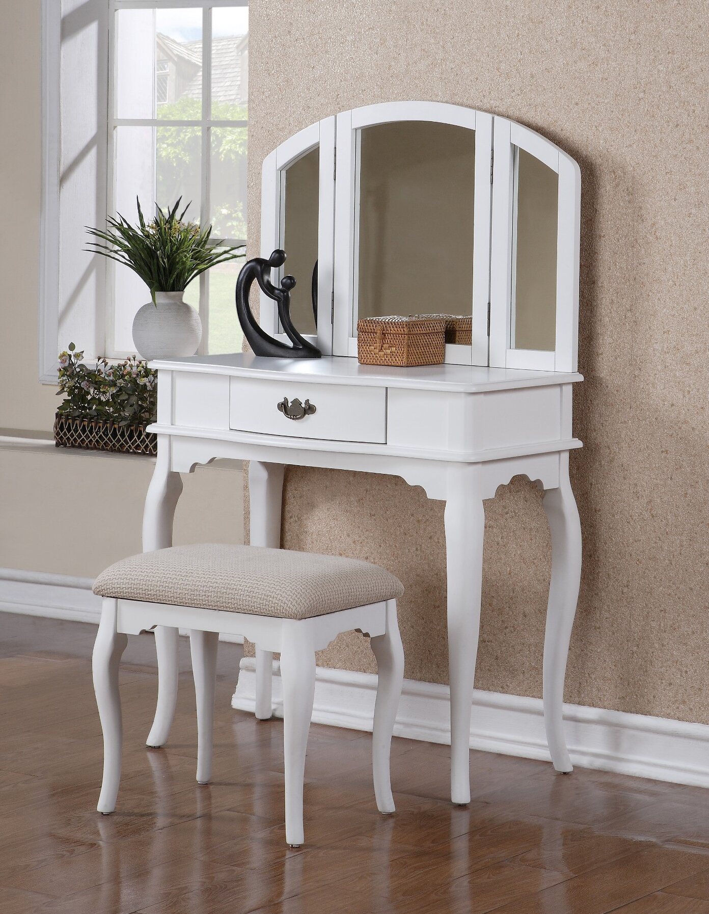 white vanity set table stool chair cosmetic makeup dresser