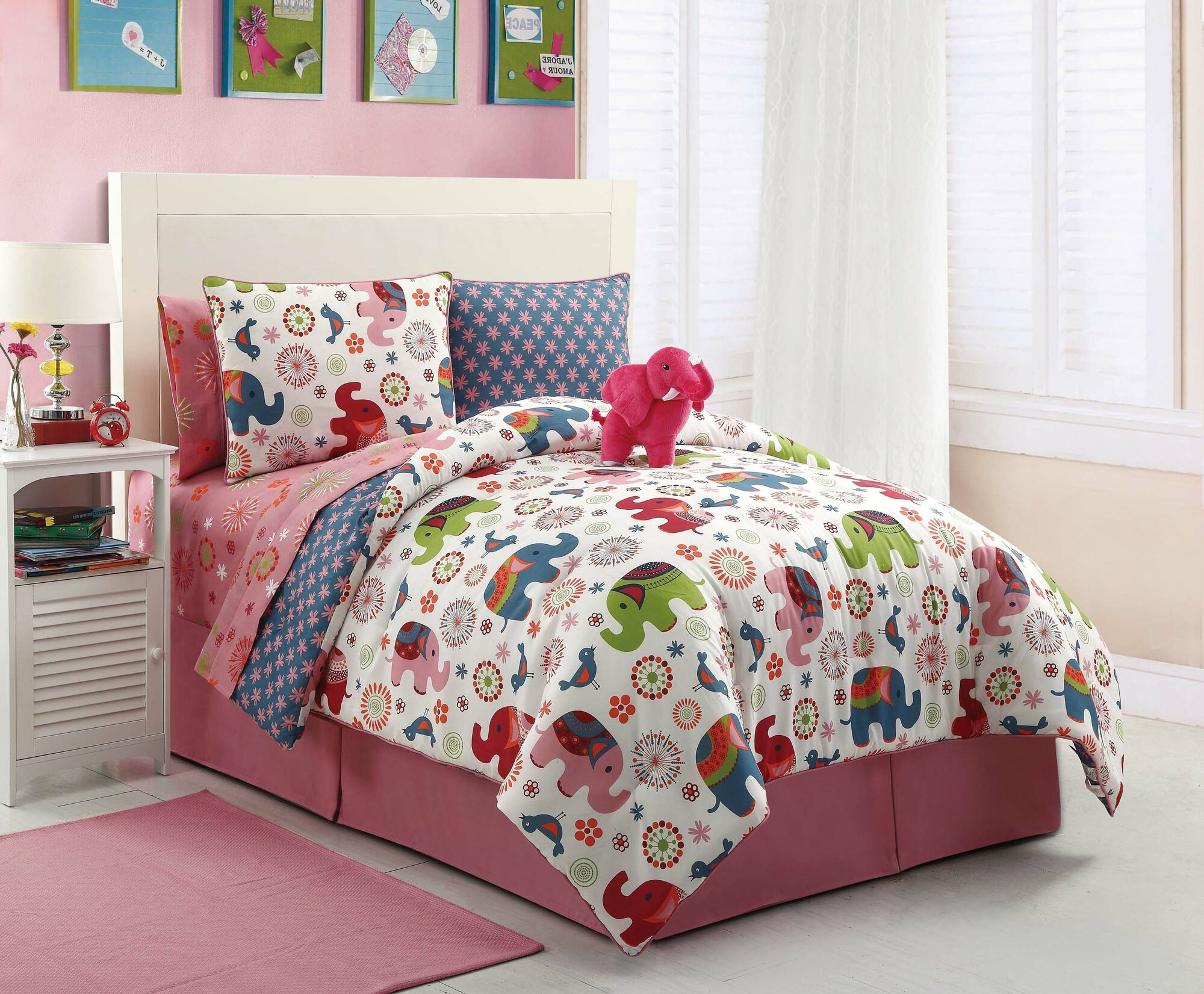 girl pink zoo safari elephant floral twin full comforter sheet set plush animal ebay. Black Bedroom Furniture Sets. Home Design Ideas