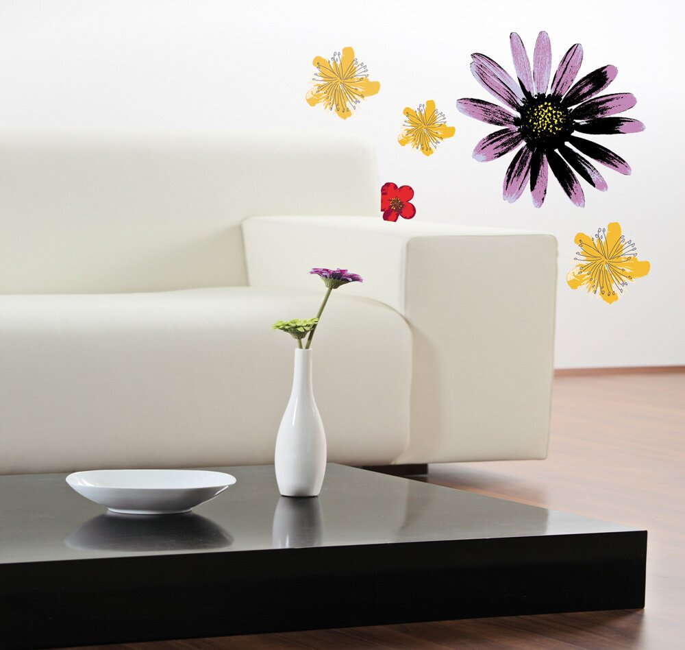 Unique  Painted Flowers Wall Decal