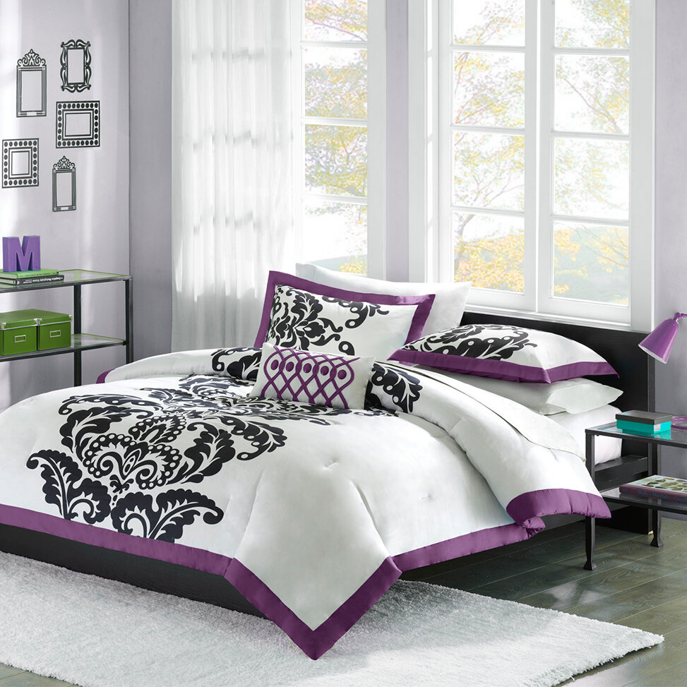 Purple comforter sets purple bedroom ideas Purple and black bedroom