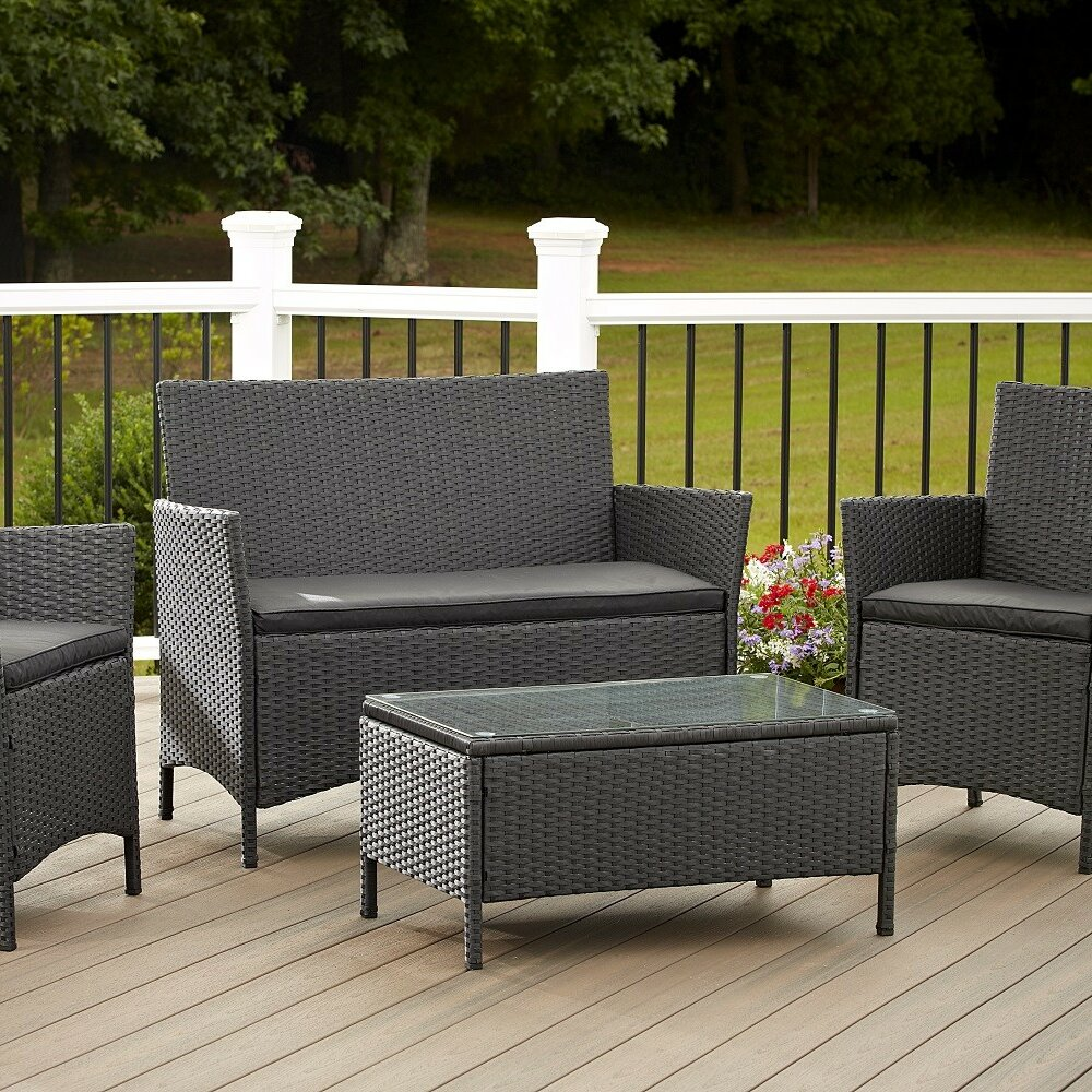 Outdoor 4 Piece Set Resin Wicker Patio Furniture Chair Table Black Grey Cushi