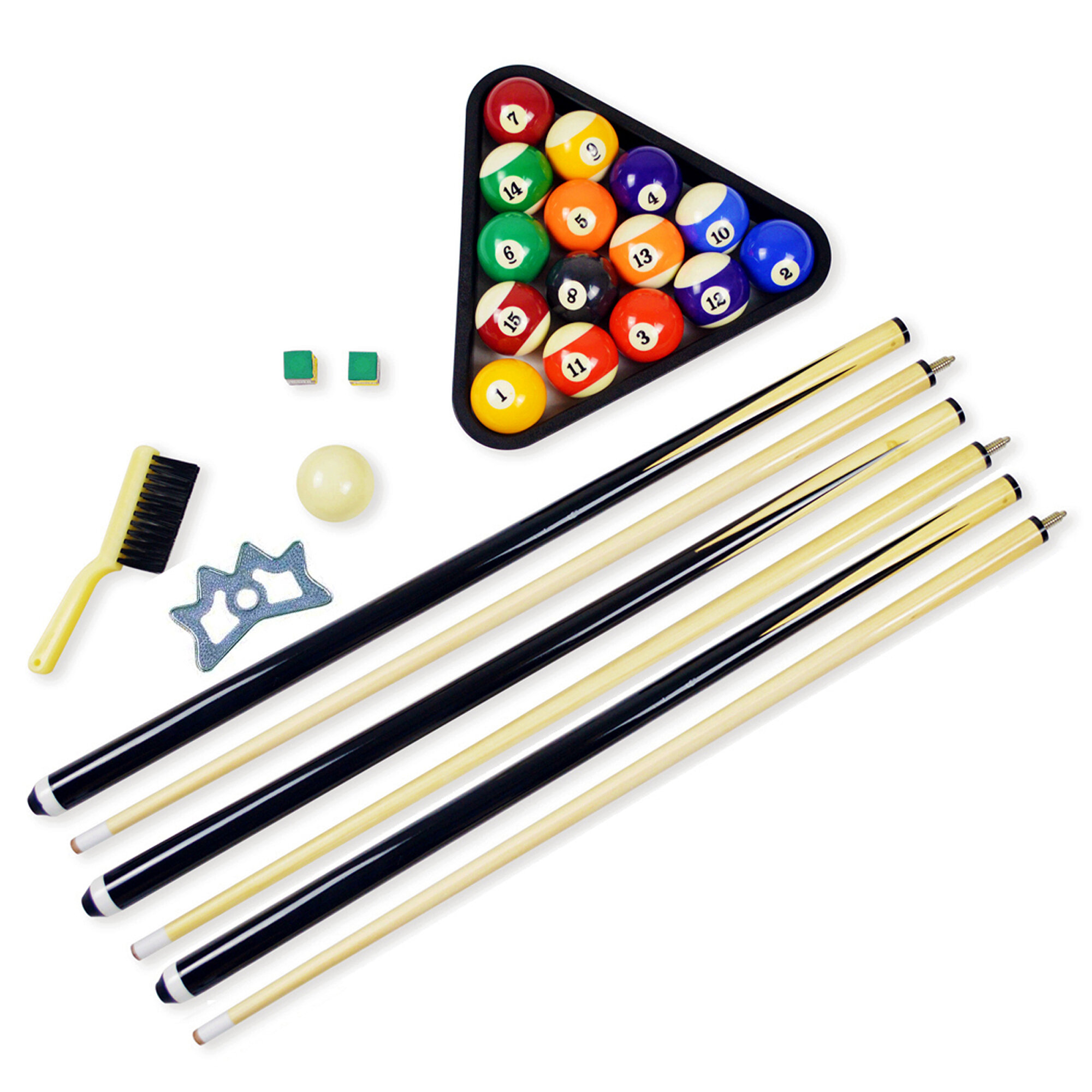 Pool table accessories billiard balls set cue sticks chalk rack bridge game room ebay - Billiard table accessories ...