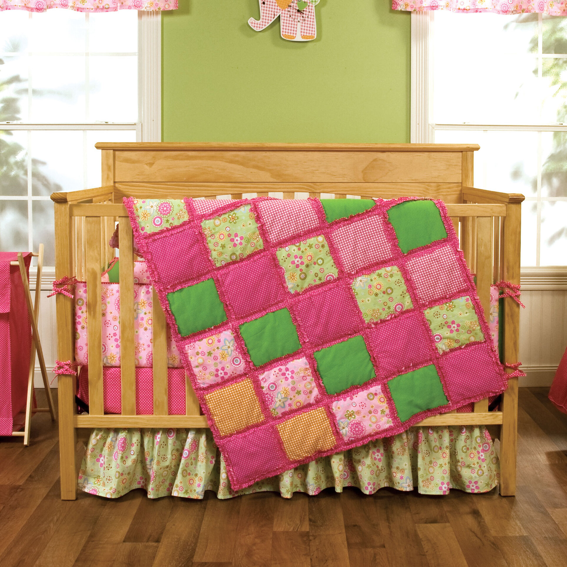orange and pink crib bedding
