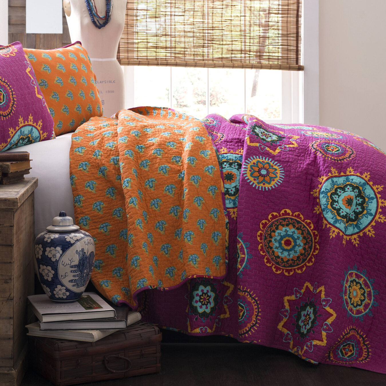 reversible purple orange quilt bedding set purple bedroom ideas