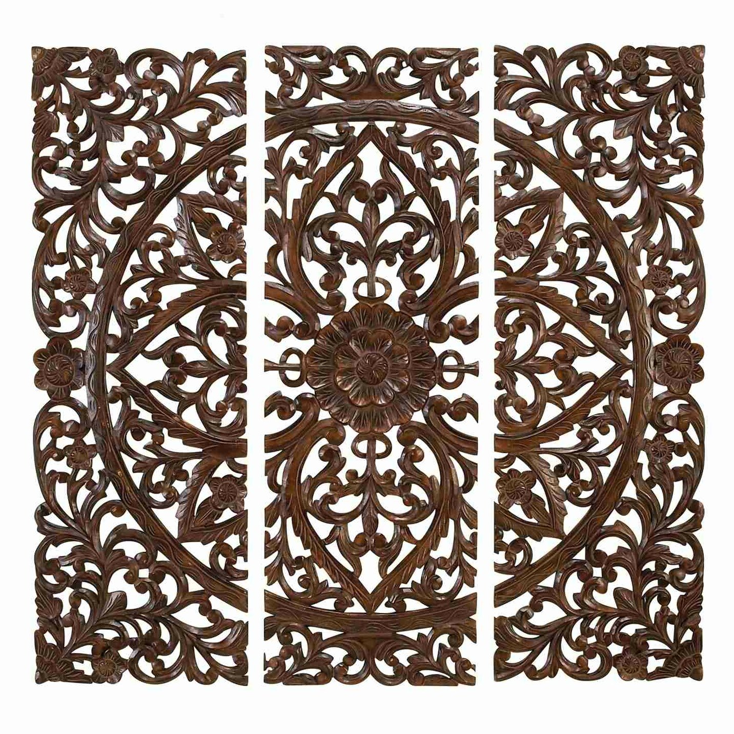 Carved wood headboard wall decor