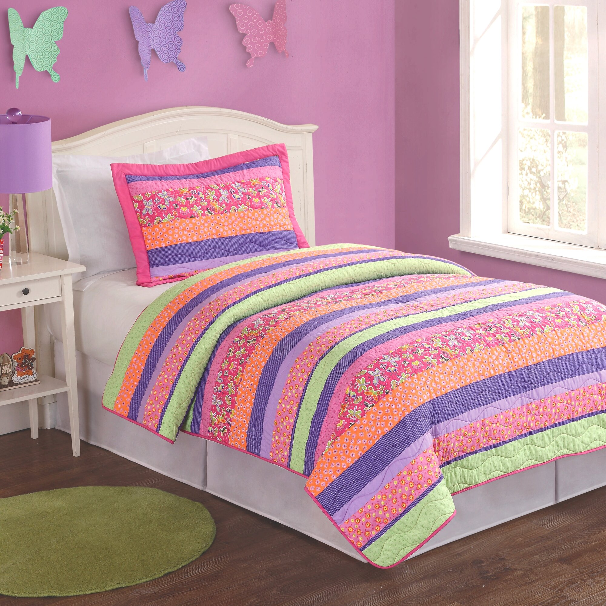 pink purple orange stripe bedding
