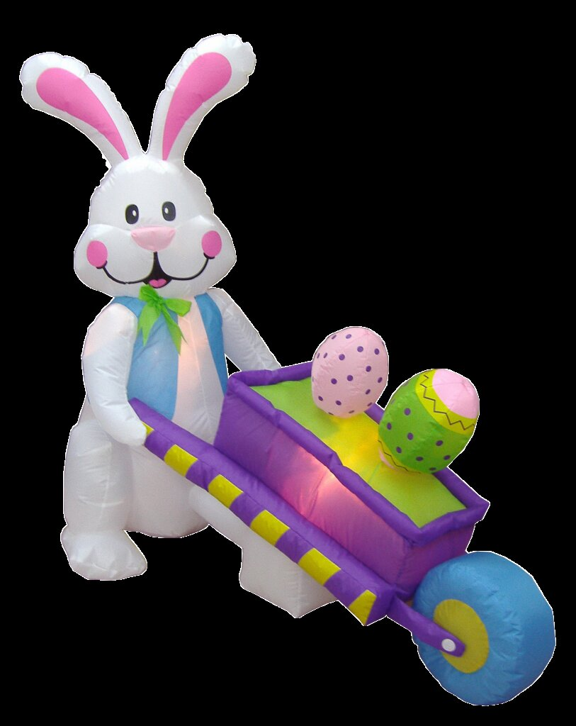 4 ft. Long Bunny Pushing Wheelbarrow with Eggs Decoration