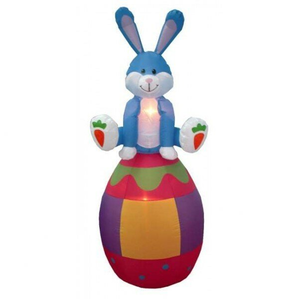 Easter Inflatable Rabbit Sitting on an Egg Decoration