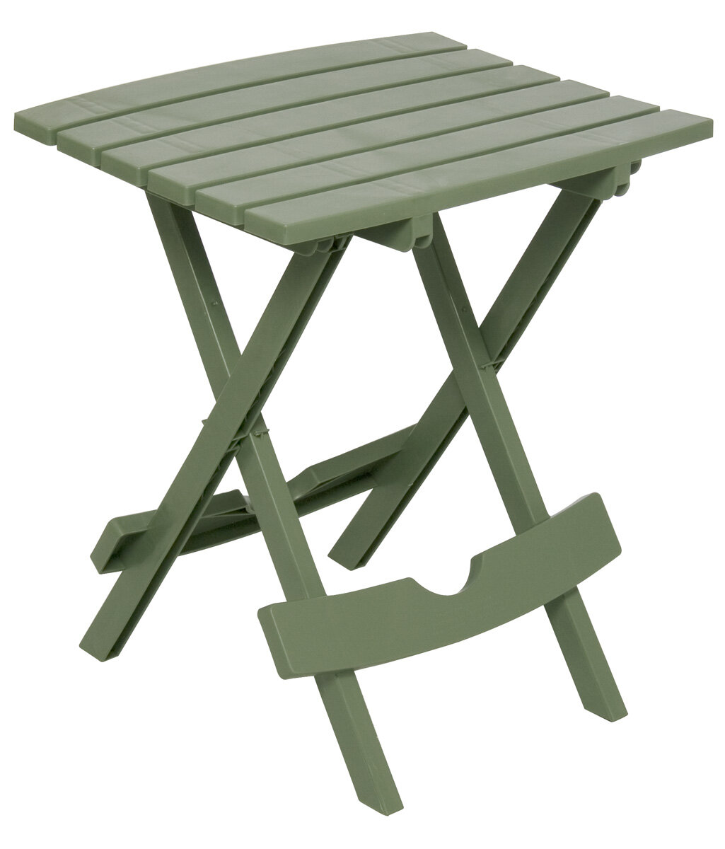 Adams Stand Quik Fold Side Table White Patio Chair