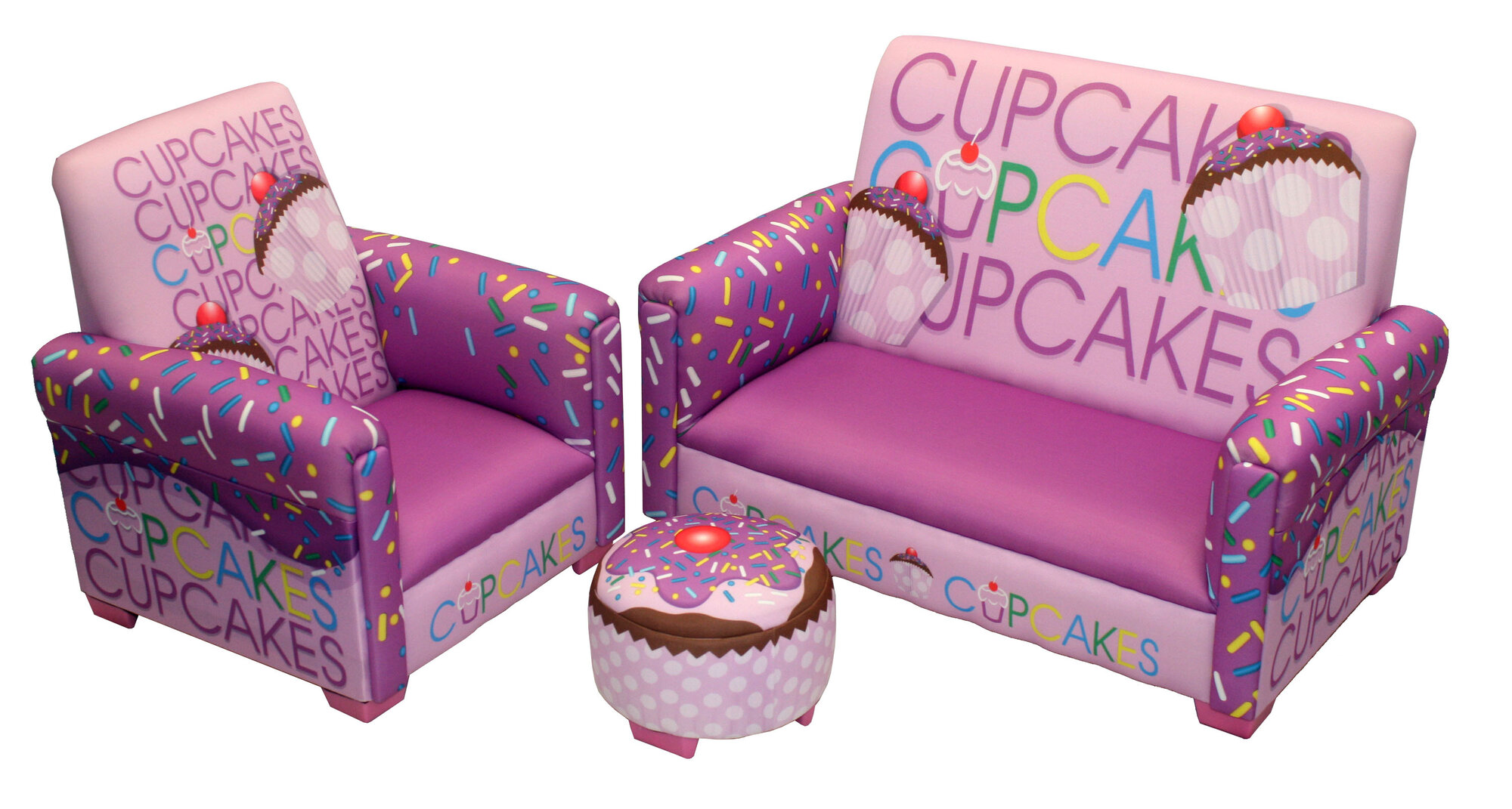 Newco Kids Cup Cake Collection Lavender Toddler Sofa, Club Chair and Ottoman Set