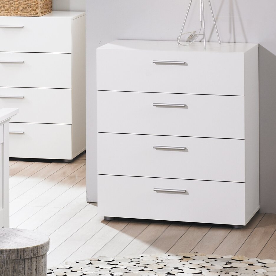 White Large Bedroom Dresser Storage Drawer Modern 4 Wood Chest Of Drawers