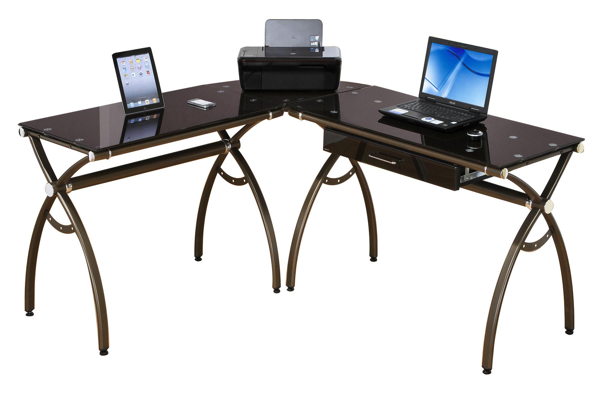 Techni Mobili L Shaped  Glass Top Double Computer Desk