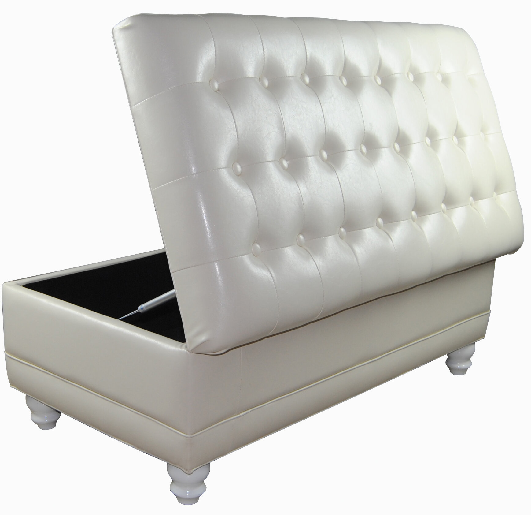 White Tufted Storage Bench Leatherette Ottoman Living Room Furniture Bedroom New Ebay