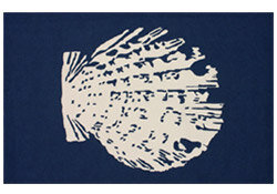 HHomestead Blue Sea Shell Novelty Rug