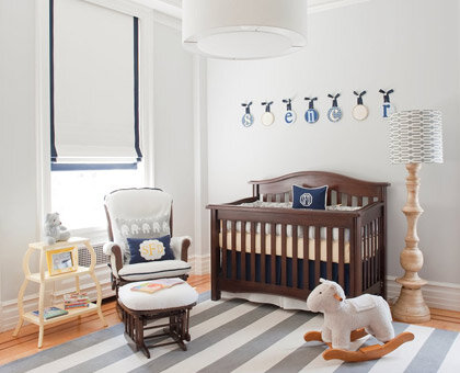 Navy + Neutrals Navy, cream, and light gray create a modern palette that's perfect for a little boy's nursery. Crisp white walls set the tone for nautical-inspired tones and sophisticated stripes.