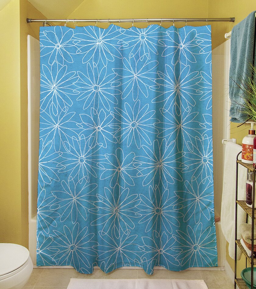 Funky shower curtains - Thumbprintz Funky Florals Daisy Sketch Polyester Shower Curtain