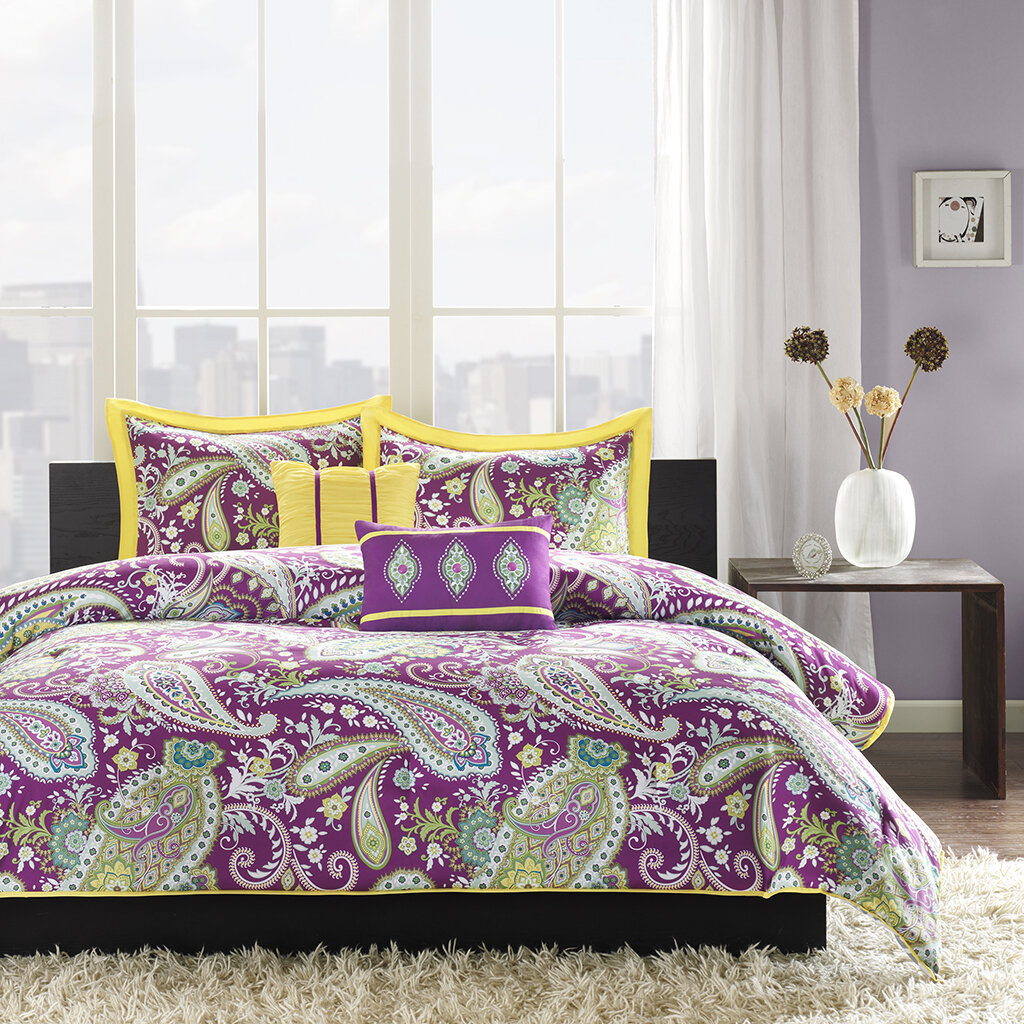 Intelligent Design Melissa Comforter Set This Purple And Yellow