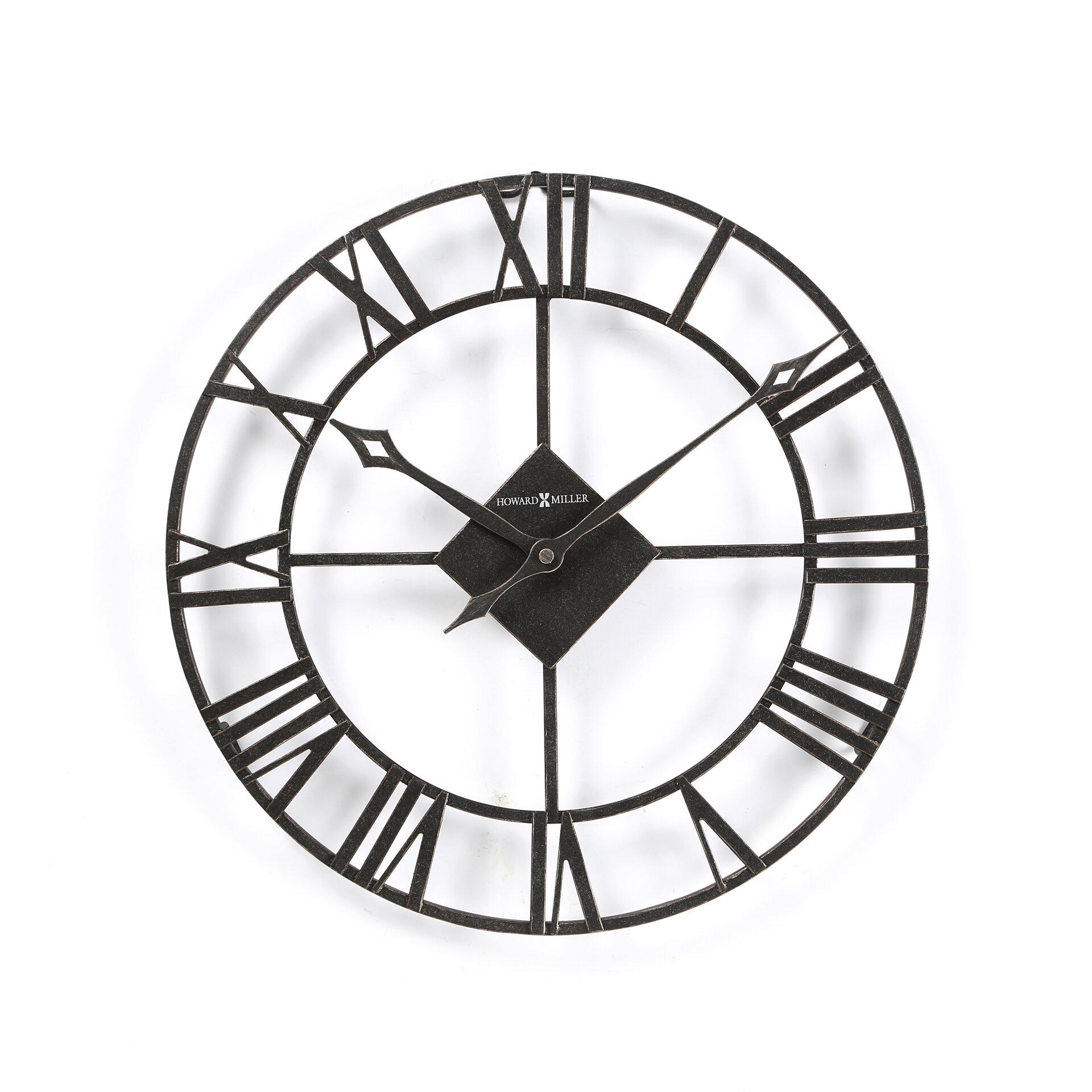 round wrought iron wall clock designer black quartz large