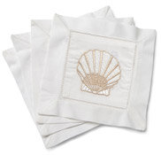 Scallop Shell Embroidered Cocktail Napkins
