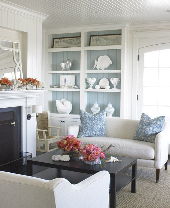 Coastal Cottage Style Living Rooms: Tailored Cottage Design - House Tour