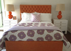 orange and purple bedroom