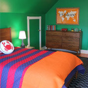 orange and green bedroom