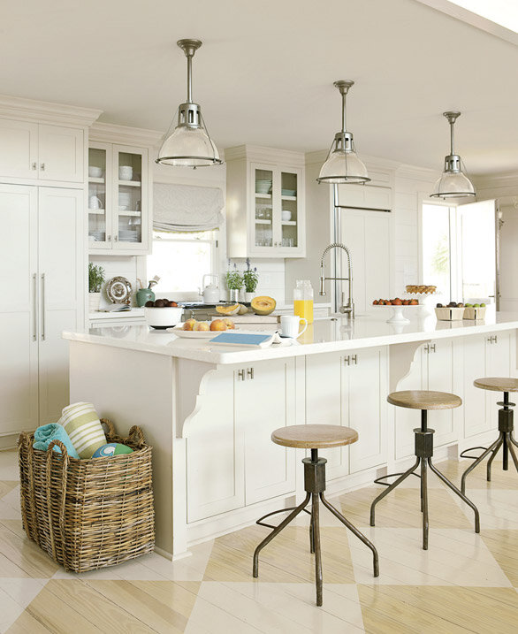 The Checkerboard Floor And Kitchen Cabinets Are Painted Creamy White