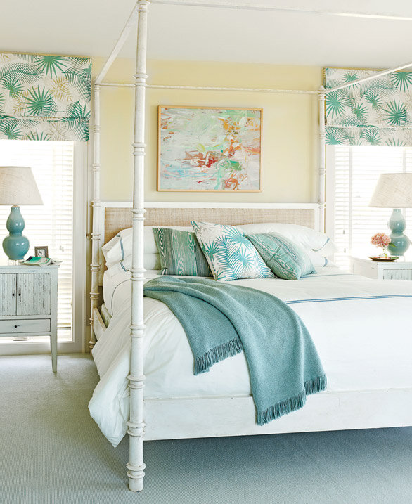 Classically cool shore house house tour wayfair Master bedroom with yellow walls