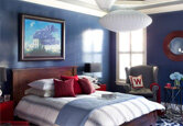 Masculine Blue and Red Bedroom
