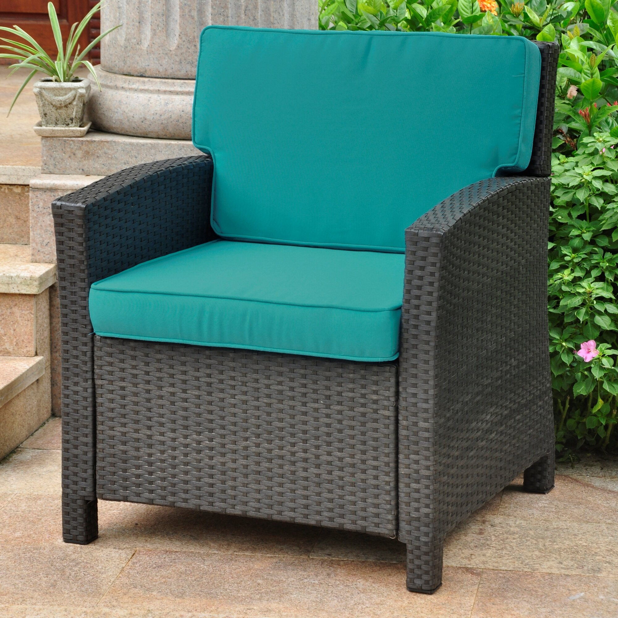 Venetian Style Wicker Resin Modern Outdoor Patio Pool Chair with Color Cushio