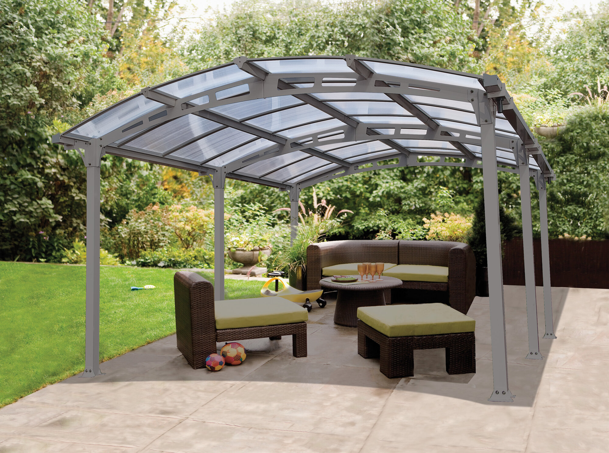 Outdoor Carport Canopy : New arcadia carport patio cover kit garage vehicle housing