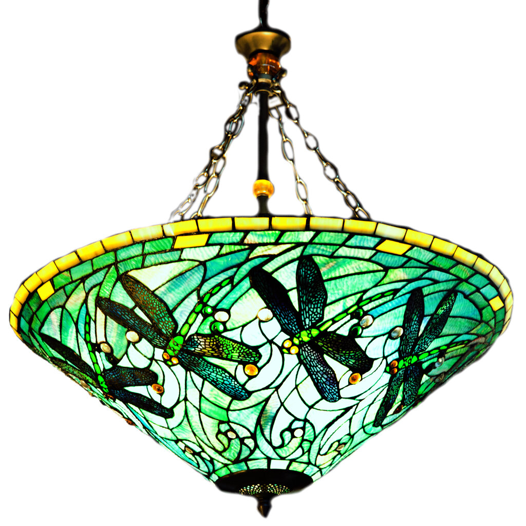 of goods stained glass tiffany style dragonfly inverted hanging lamp. Black Bedroom Furniture Sets. Home Design Ideas