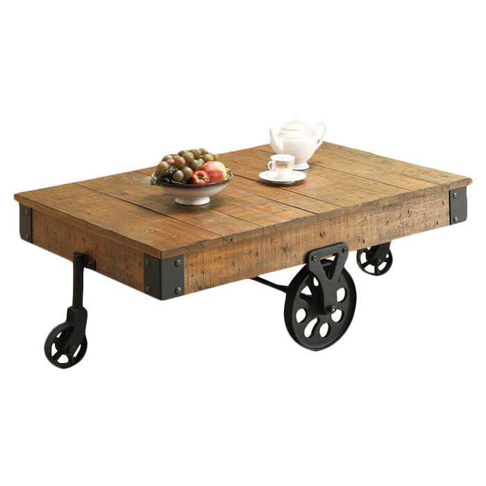 Coffee Side Table End Wooden Farm Wagon Iron Caster Wheel Sofa Ottoman Chair Ebay