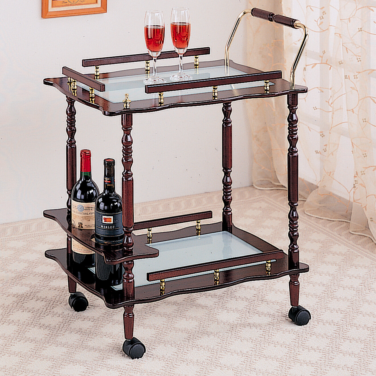 Classical cherry wine rack brass accents rolling wood