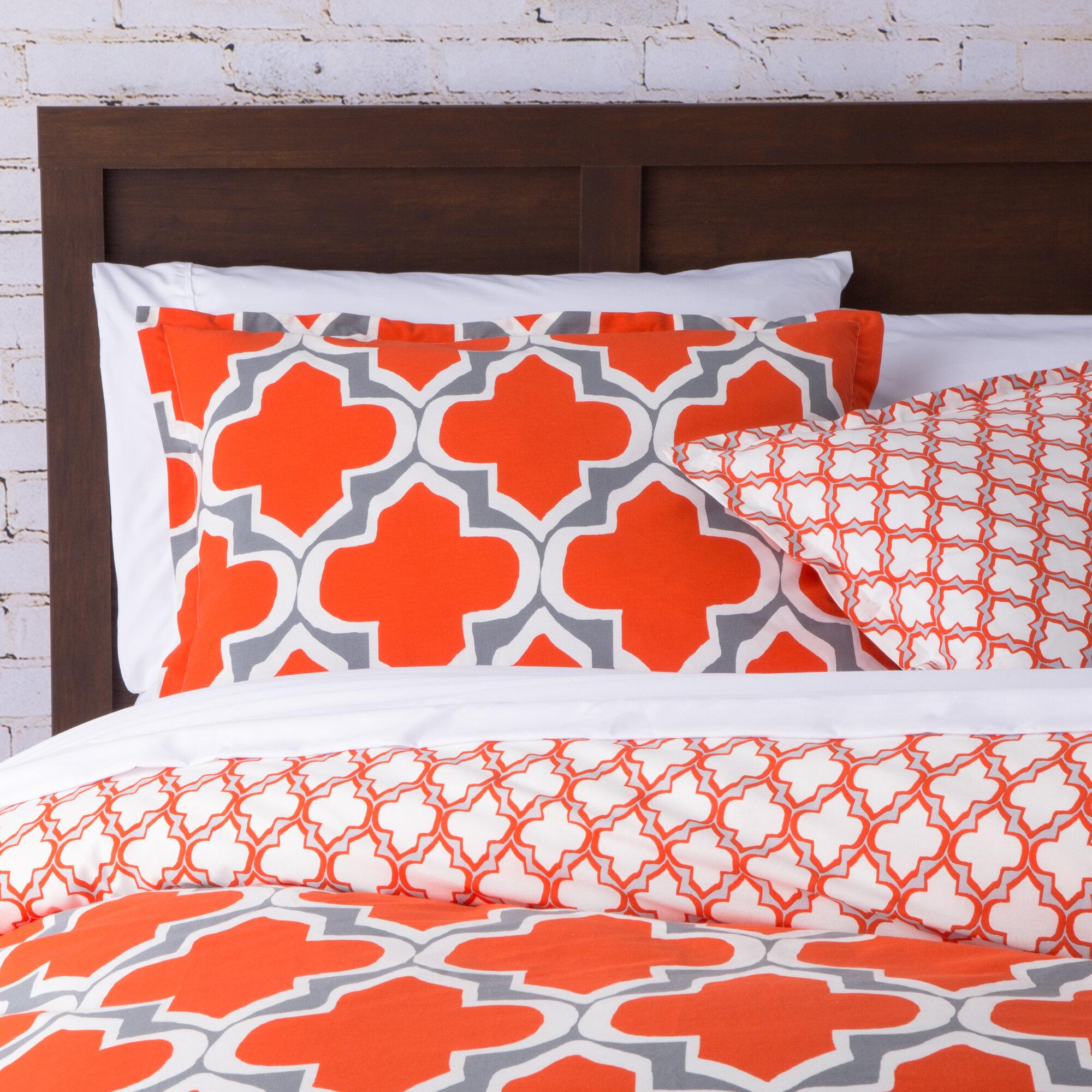 Geometric bedding sets - Orange and grey comforter ...