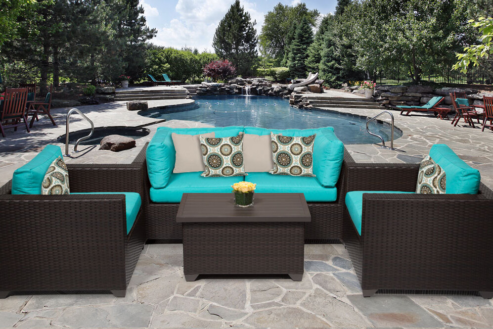 Deluxe outdoor garden pe wicker 5 pcs sofa patio furniture for Outdoor furniture big w
