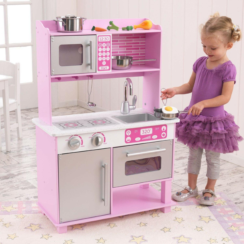 kidkraft pink retro pretend play kitchen w/ accessories