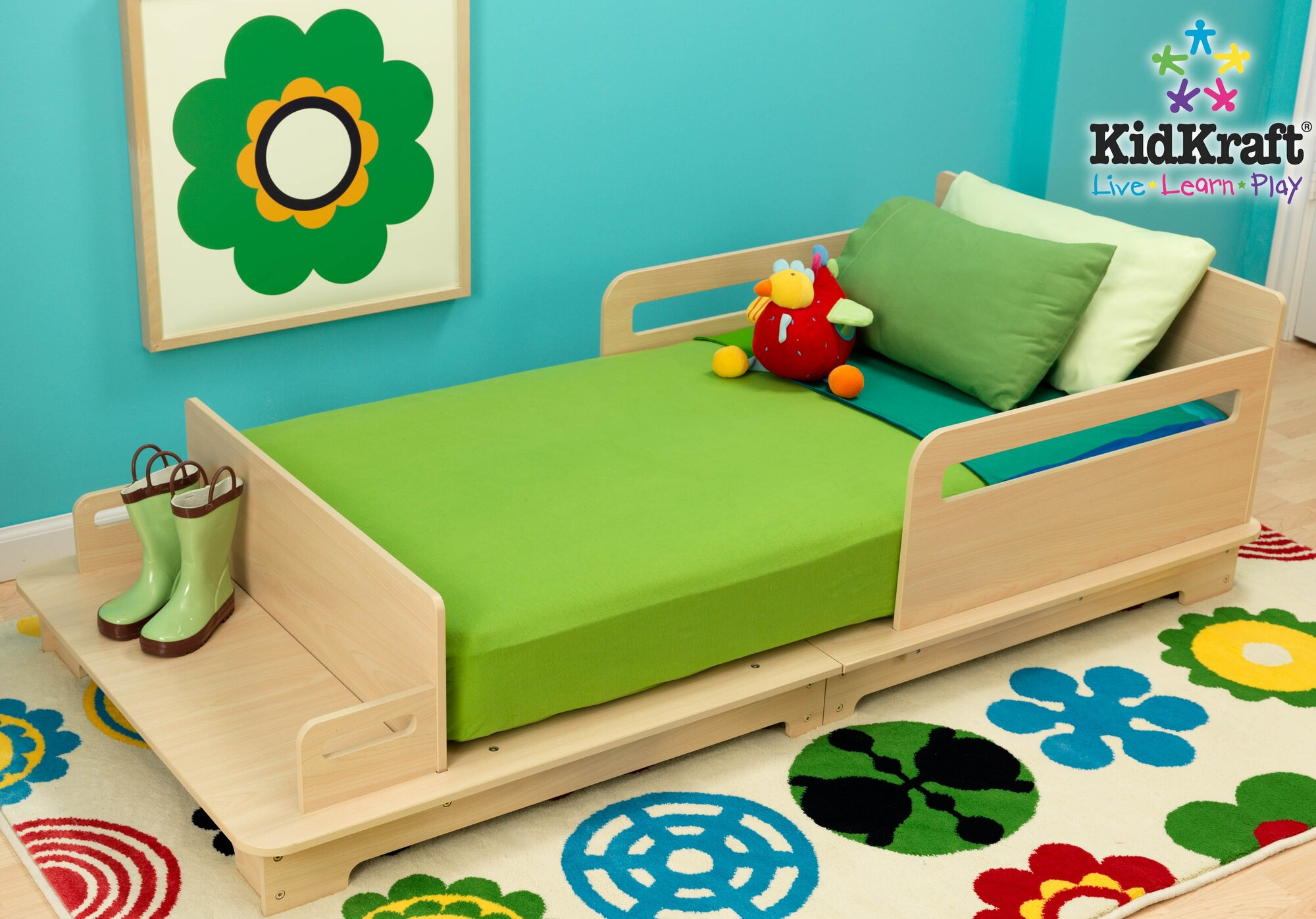Cool toddler beds for boys - Kidkraft Modern Wood Toddler Bed With Bench Seat